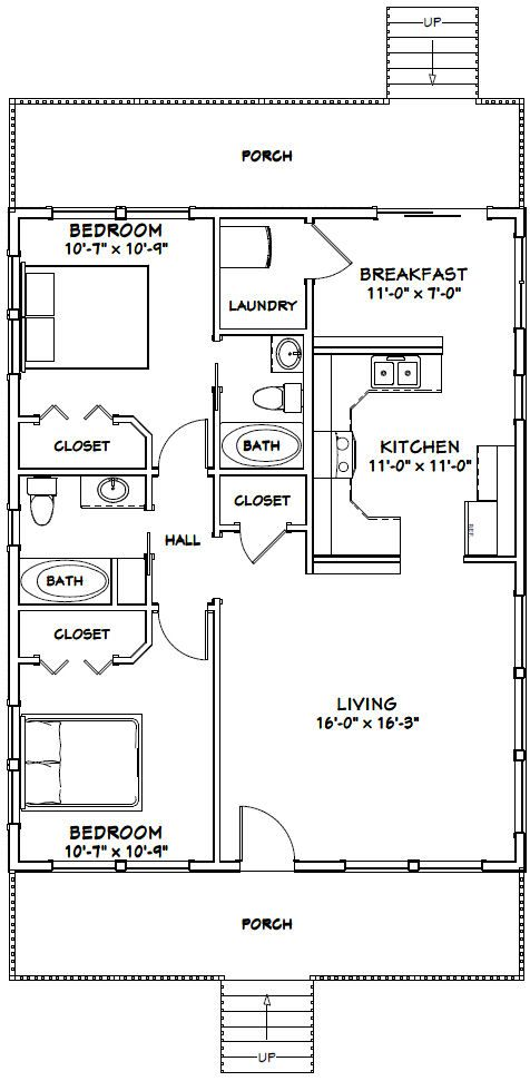 28x36 House 28x36h3e 1 008 Sq Ft Excellent Floor Plans