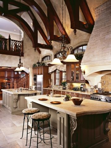 Great hall kitchen with two islands a balcony overlook for Kitchen balcony ideas