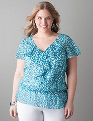 Confetti print ruffled blouse by Lane Bryant