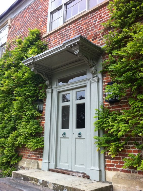 Front door painted in zoffany