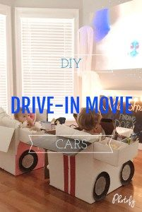 Drive-In Movie Night with Kids!  DIY Drive-In Movie Cardboard Car