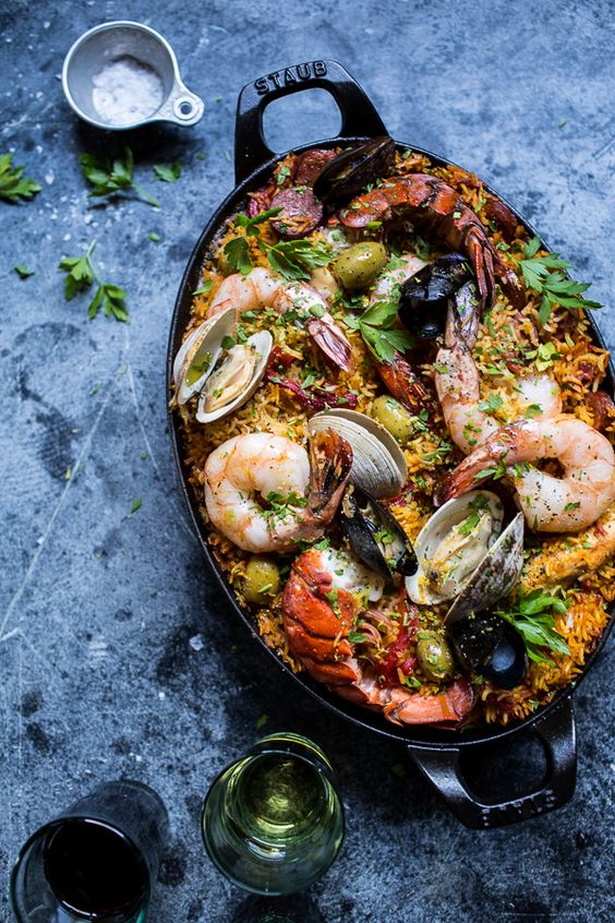 Skillet Grilled Seafood and Chorizo Paella, simple, delicious and dirties only one dish! What more can you ask for? Find the recipe at halfbakedharvest.com