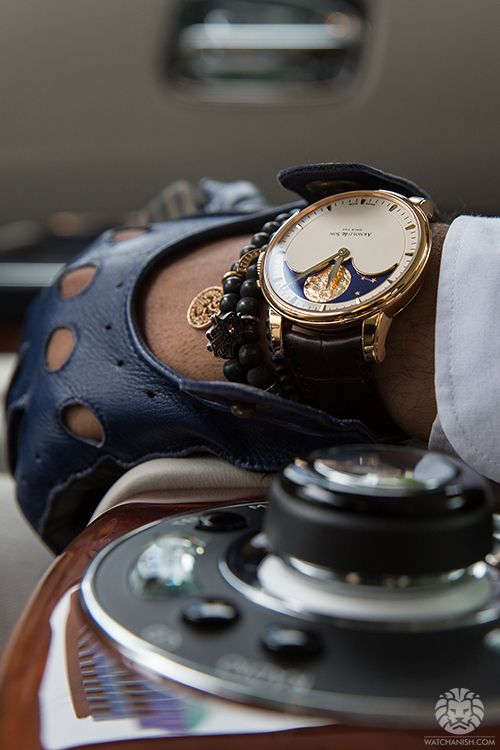 Arnold & Son HM Perpetual Moon on the wrist. Seated in a Rolls Royce Ghost.