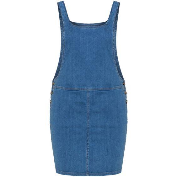 Zizzi Blue Plus Size Denim dungaree dress ($85) ❤ liked on Polyvore featuring dresses, blue, plus size, plus size denim dress, denim mini skirt, plus size short dresses, plus size dresses and denim miniskirt