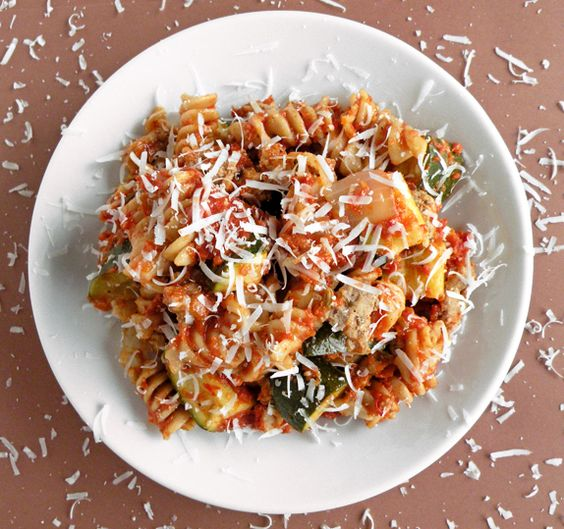 Zucchini Pasta Bake with a Roasted Red Pepper Sauce