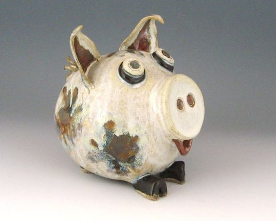 Ceramic piggy bank creamy white with multi color spots Decorative piggy banks for adults