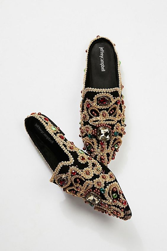 Sexy Embroidery Flat Mules