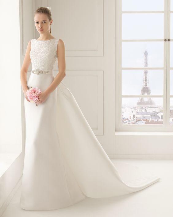 Vestido de noiva de mikado com brilhantes. Coleção Rosa Clará Two 2016
