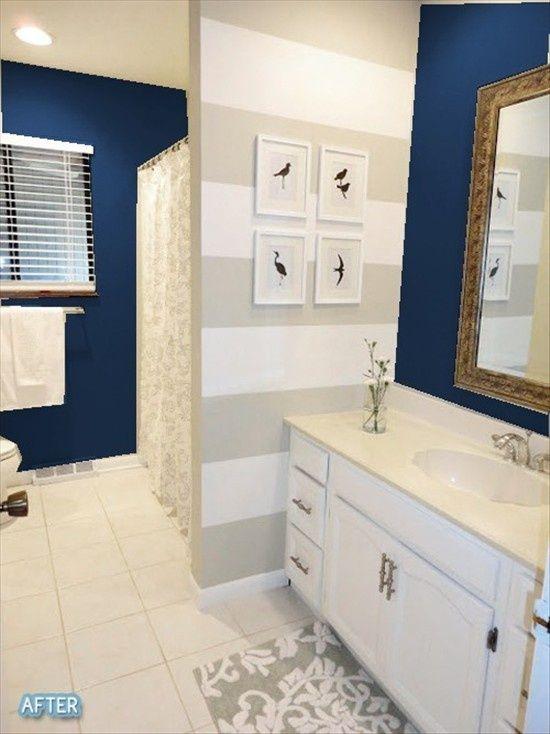 Cortinas De Baño Rayadas:Navy Blue and Grey Bathroom