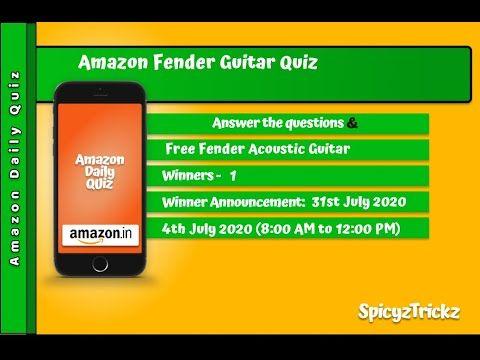 Amazon Daily Quiz 4th July Win Free Fender Acoustic Guitar Youtube In 2020 Fender Acoustic Guitar Guitar Youtube Fender Acoustic