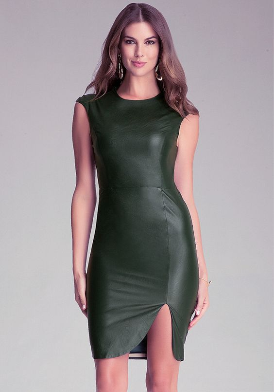 Faux Leather Midi Dress - All Dresses   bebe. USA system appropriate.