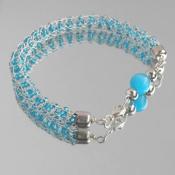 Viking Knit Seed Bead Bracelet Sky Blue Silver Plated Wire Jewelry ...
