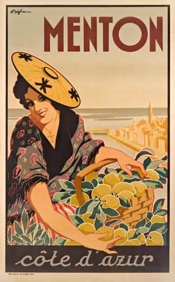Menton Cote d'Azur, French Riviera Vintage travel poster #beach #essenzadiriviera