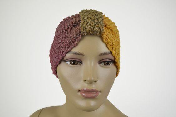 Strick Winter Stirnband Farbverlauf Wolle von Jaqueen auf DaWanda.com