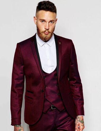 New Design One Button Dark Red Groom Tuxedos Groomsmen Men's