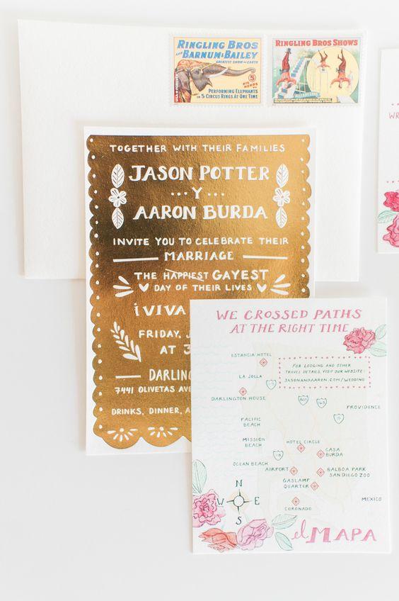 Gold wedding invitation #invitations