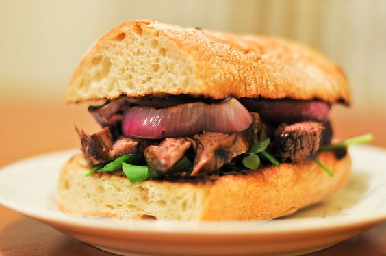 "Guinness-Marinated Steak Sandwich - the blog post title calls this recipe ""The Most Evil Steak Sandwich"". High praise, indeed!"