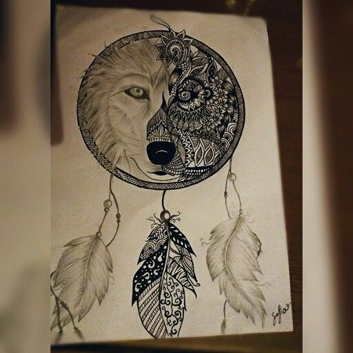Wolf Dream Catchers Drawings Mandala wolf dreamcatc...