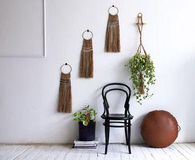 Jute wall hangings & tan floor pad
