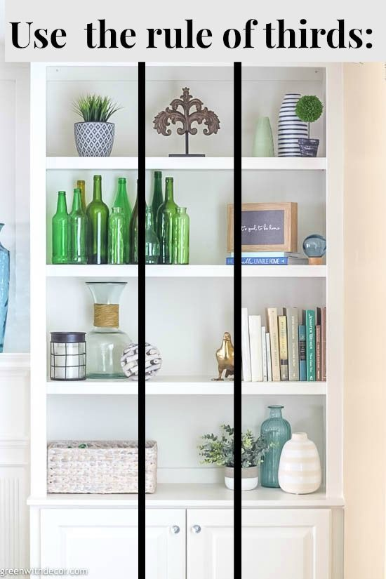 How To Decorate Bookshelves Green With Decor Decorating