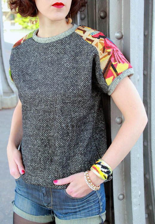 This is not a refashion but does show how pretty patterned fabrics can be when altering a top that is too small.