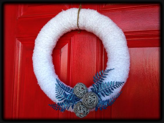 Handmade White Fluffy Yarn Wreath with by SimplySouthernCrafts, $25.00
