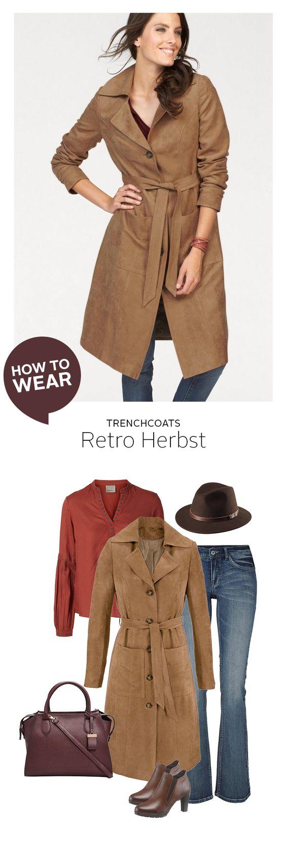 Dieser Herbst wird retro-chic: Der Wildleder-Trenchcoat von Tamaris erhält durch J. Jayz Hut und Next Handtasche einen mondänen Touch, der in schönem Kontrast zur Vero Moda Bluse steht, und Herbstfarben perfekt in Szene setzt. Die schlichte Arizona Jeans macht das Outfit alltagstauglich.