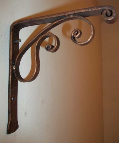 primitive rustic scroll style hand forged wrought iron shelf support brackets shelf brackets. Black Bedroom Furniture Sets. Home Design Ideas