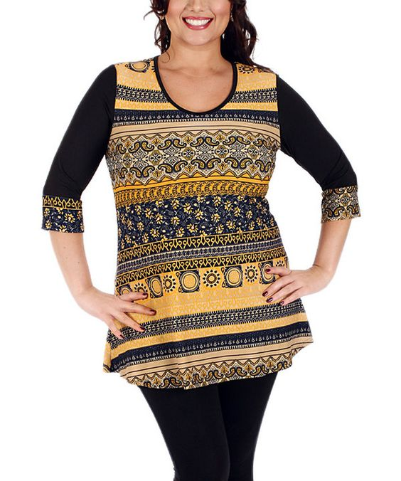 Look at this Aster Black & Gold Tapestry Tunic - Plus on #zulily today!
