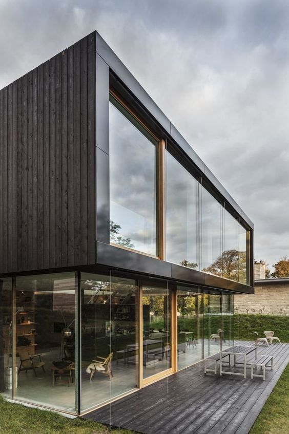 Wooden Deck, Outdoor Table, Glass House, Energy Efficient Home in Bloemendaal, The Netherlands