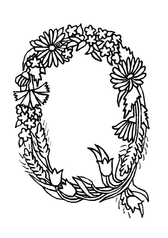 Le lettre Q en forme de bouquet de fleurs, coloriage pour enfants