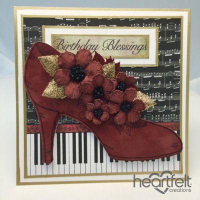 Heartfelt Creations | Blooming Red Suede Shoe