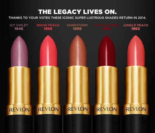 Revlon to relaunch 5 iconic lipstick shades from past decades- I don't even like Revlon but you tell me these lipsticks were the shades in the 40's 50's and 60's I'm all over it!