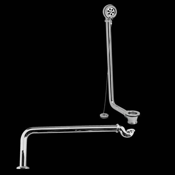 Ab- und Überlaufgarnitur mit Stöpsel und Siphon Chrom - Image 1