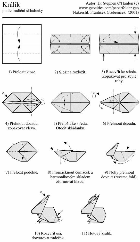 origami rabbit instructions alad225r pinterest simple