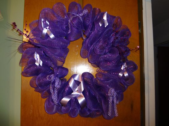 Relay For Life wreath. Perfect for Paint the Town Purple décor!