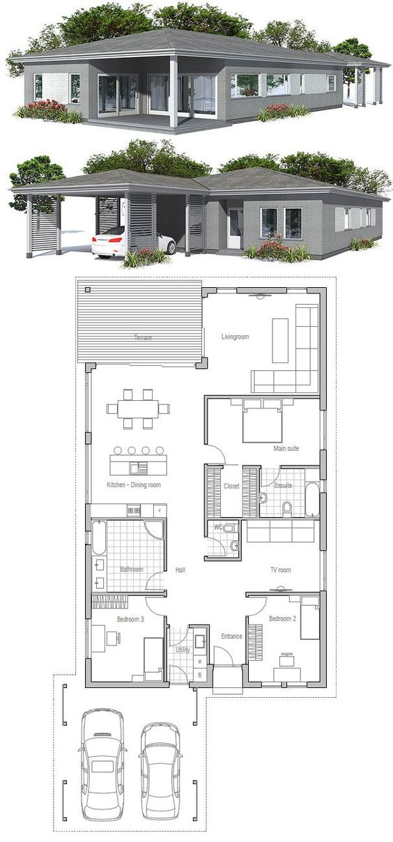 Simple Modern Narrow House Floor Plan From Concepthome