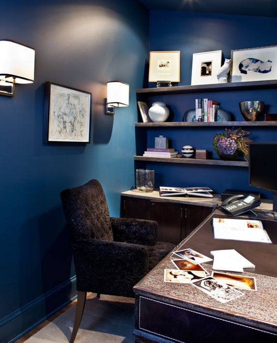 marks and frantz interior design cozy office space with dark blue walls blue home office dark wood