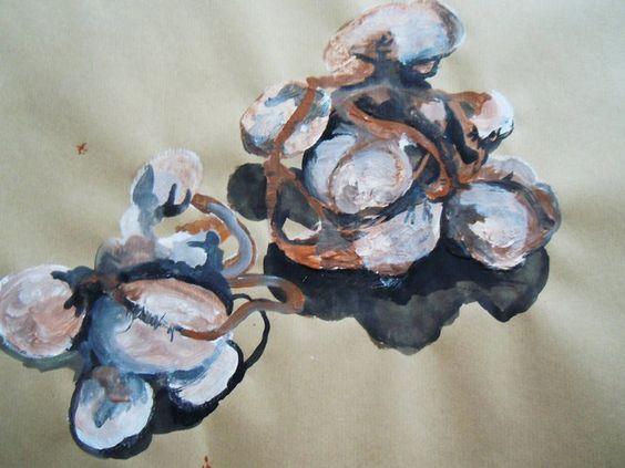 """dessin d'""""organes"""", acrylique sur papier kraft, 2011"""