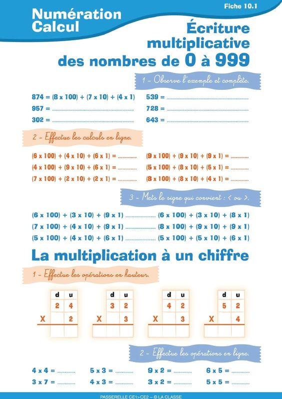 10 fiches d'exercices pour perfectionner la num ration et le calcul en CE1 : crire les nombres ...