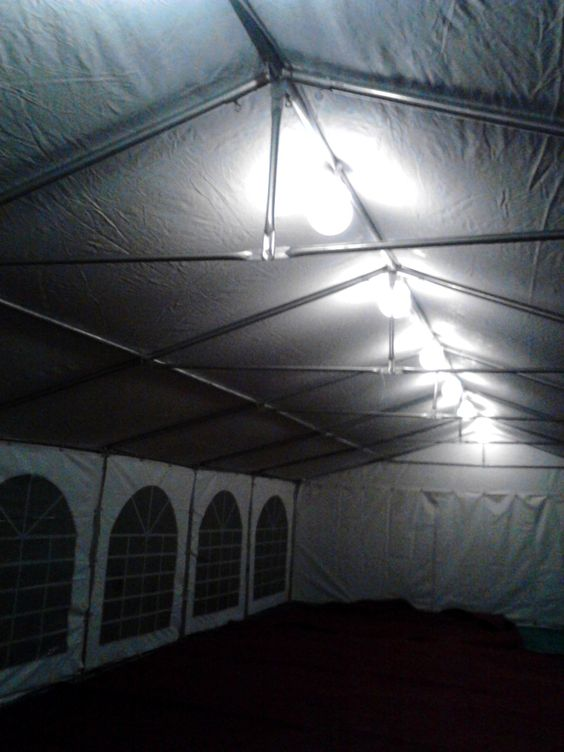 basic lighting in one of our 6m by 12m marquee's