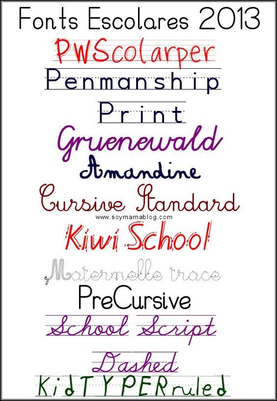 seleccion de fonts escolares regreso a clases 2013