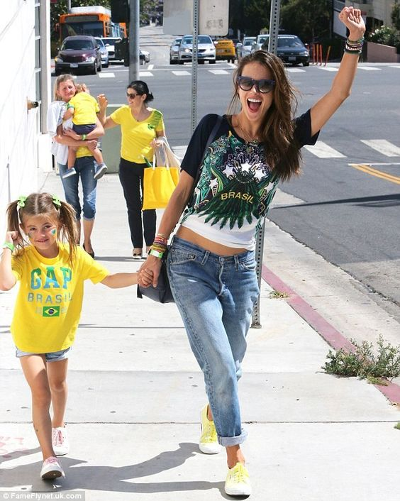Alessandra Ambrosio wearing Superga 2750 Cotu Classic in Limelight, Mulberry Alexa Bag in Midnight Blue and Celine Cl41053 Baby Audrey Sunglasses.