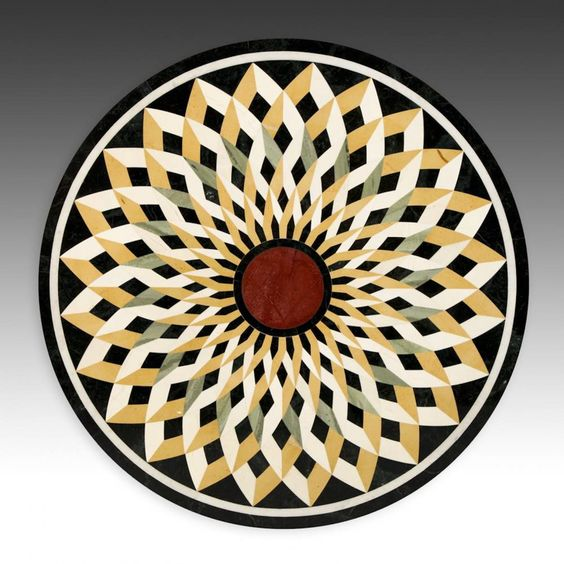 "hardstone Pietra Dura table top, Rajasthan, India  modern. hardstone mosaic, 30""d. (76 cm)  via Material Culture"