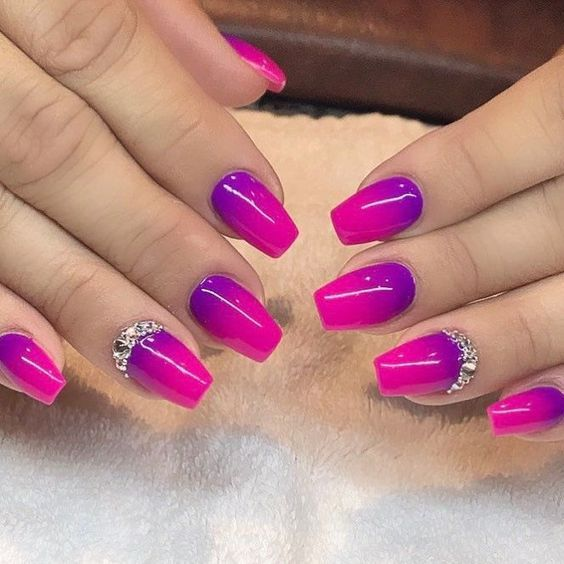 Pink And Purple Ombre Nails With Crystals The Best 12 Ombre Nail Art French Fades Unicorn And Mo Purple Ombre Nails Purple Nail Designs Ombre Nail Designs