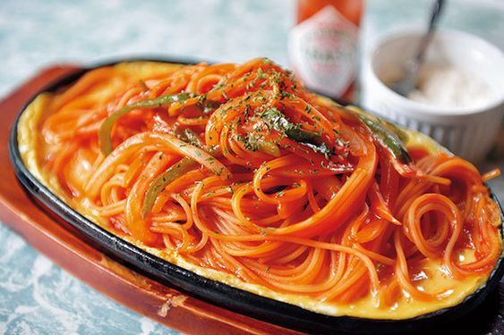 美味しそうなオムナポリタンパスタ・スパゲッティー