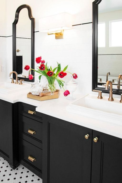 20 Modern And Breathtaking Black And White Bathroom Interior Design Ideas White Bathroom Tiles Black Cabinets Bathroom Classic Bathroom