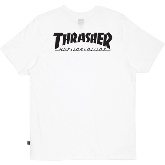 HUF HUF X Thrasher White Classic H Tee (€26) ❤ liked on Polyvore featuring tops, t-shirts, white tee, white t shirt, huf t shirts, huf and huf tees