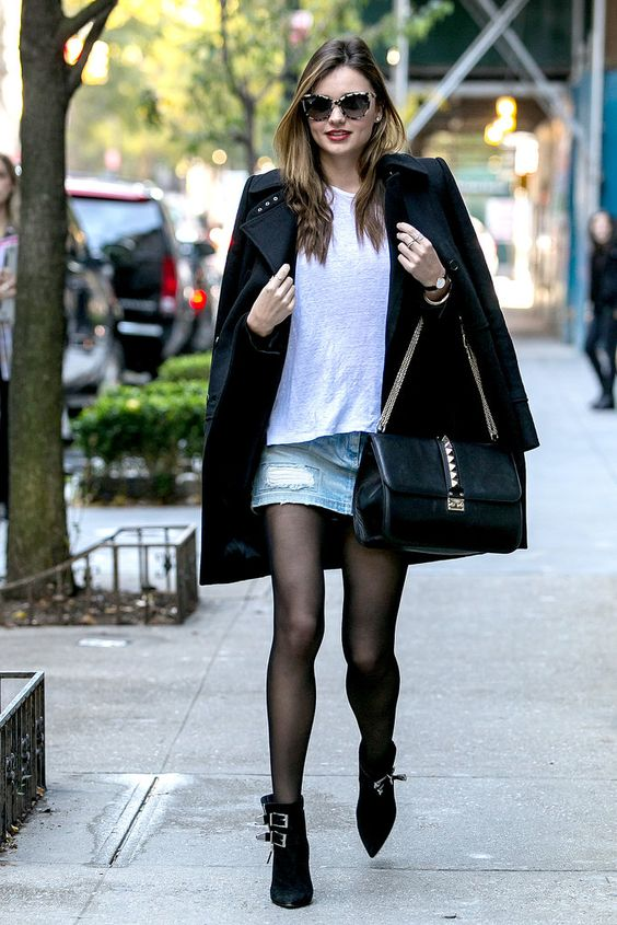 Miranda Kerr Revisits The Denim Skirt