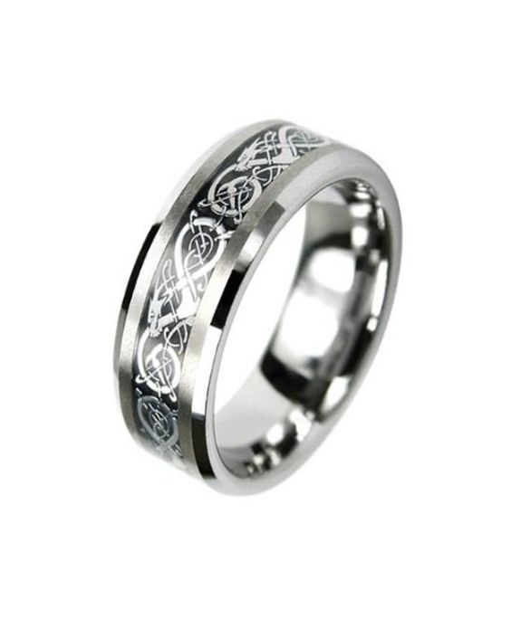 Tungsten Carbide Flat Comfort Fit Men Celtic Dragon Black Inlay 8mm Wedding Ring Band Size 8